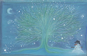 Balls Pastels Posters - Snow Tree Poster by First Star Art