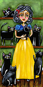 Tuxedo Cat Painting Framed Prints - Snow White and the 7 Cats Framed Print by Krista Smith