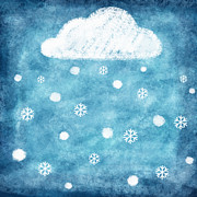 Sticky Note Prints - Snow Winter Print by Setsiri Silapasuwanchai