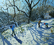 English Landscape Prints - Snowball fight Print by Andrew Macara