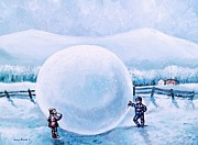 Outside Ice Paintings - Snowball Fight by Shana Rowe