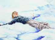 Snowball Paintings - Snowball War by Carolyn Coffey Wallace