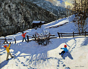 Mountain Cabin Painting Framed Prints - Snowballers Framed Print by Andrew Macara