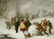 Winter Scenes Rural Scenes Painting Prints - Snowballing   Print by Cornelis Kimmel