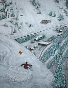 Skiing Action Paintings - Snowbird Steeps by Michael Cuozzo