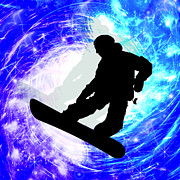 Sports Paintings - Snowboarder in Whiteout by Elaine Plesser