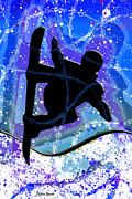 Extreme Digital Art Prints - Snowboarder Print by Stephen Younts
