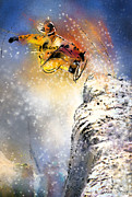 Sports Art Mixed Media Posters - Snowboarding 01 Poster by Miki De Goodaboom