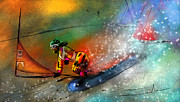 Sports Art Mixed Media - Snowboarding 02 by Miki De Goodaboom
