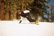 Precipitation Metal Prints - Snowboarding down a hill Metal Print by Barry Tessman
