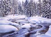Yellowstone Painting Prints - Snowbound Print by Sharon Freeman