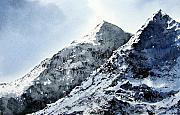 Snow-covered Landscape Painting Posters - Snowdon Poster by Paul Dene Marlor