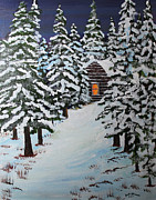 Snowed Trees Painting Posters - Snowed In Poster by Jack G  Brauer