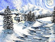 Stone Chimney Prints - Snowed In Print by Shana Rowe