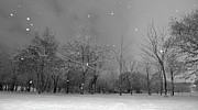 Black And White Photography Photos - Snowfall At Night by Mark Watson (kalimistuk)