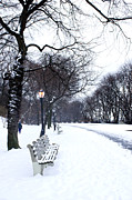 Rosemary Hawkins Prints - Snowfall at Riverside Park New York Print by Rosemary Hawkins