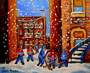 Hockey Painting Posters - Snowfall Hockey Game Winter City Scene Poster by Carole Spandau