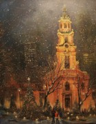 Night Scene Painting Prints - Snowfall in Cathedral Square - Milwaukee Print by Tom Shropshire