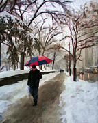 Central Park Digital Art Prints - Snowfall in Central Park Print by Deborah Boyd