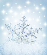 Flake Prints - Snowflake background Print by Anna Omelchenko