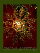 Snowflake Mixed Media Posters - Snowflake Greetings Poster by Debra     Vatalaro