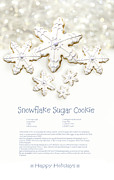 Snack Posters - Snowflake sugar cookies with receipe  Poster by Sandra Cunningham