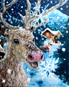 Cabin Window Posters - Snowflakes and Reindeer Poster by Graham Keith