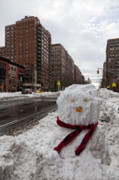 Snowstorm Art - Snowman 96th Street and Park Avenue 1 by Robert Ullmann