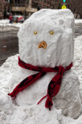 Snowstorm Art - Snowman 96th Street and Park Avenue 2 by Robert Ullmann