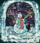 Christmas Card Digital Art Metal Prints - Snowman and Cat Metal Print by Catherine Martha Holmes