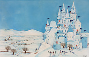 Christmas Greeting Painting Posters - Snowman Castle Poster by Christian Kaempf