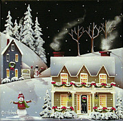 Cottage Print Paintings - Snowman Contest by Catherine Holman