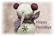 Holidays Mixed Media - Snowman Greeting Card by David Dehner