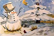 Landscape Drawings - Snowman Hug by Mindy Newman