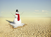 Dry Lake Photos - Snowman In The Desert by Stephen Swintek