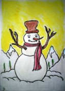 Winter Scenery Drawings Prints - Snowman Print by Indu Raghavan