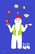 Chocolates Digital Art - Snowman Juggler by Barbara Moignard
