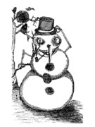 Sketchbook Drawings Prints - Snowman Print by Michael Mooney