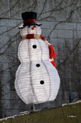 Snowman Photos - Snowman On The Roof by Christopher Holmes