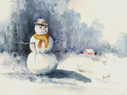 Snow Framed Prints - Snowman Framed Print by Sam Sidders