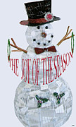Frosty Mixed Media Posters - Snowman Season Card Poster by Debra     Vatalaro