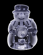Christmas Snowman Framed Prints - Snowman Toy, Simulated X-ray Framed Print by Mark Sykes