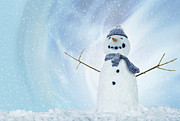 Arms Outstretched Photos - Snowman With Arms Open by Gandee Vasan