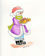 Children Book Originals - Snowman with Wood by Eva Ason