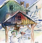 Winter Trees Drawings Posters - Snowmen Family  Poster by Mindy Newman