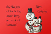 Christmas Card Digital Art Metal Prints - Snowmen for Christmas Metal Print by Linda Phelps