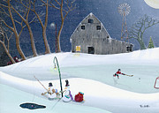 Winter Framed Prints Prints - Snowmen On Hockey Pond Print by Thomas Griffin