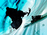 Silhouette Painting Posters - Snowmobiling on Icy Trails Poster by Elaine Plesser