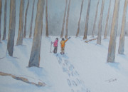 Shoe Paintings - Snowshoe Friends by Sarah Tule