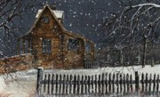 Snowscape Paintings - Snowstorm by Randy Edwards